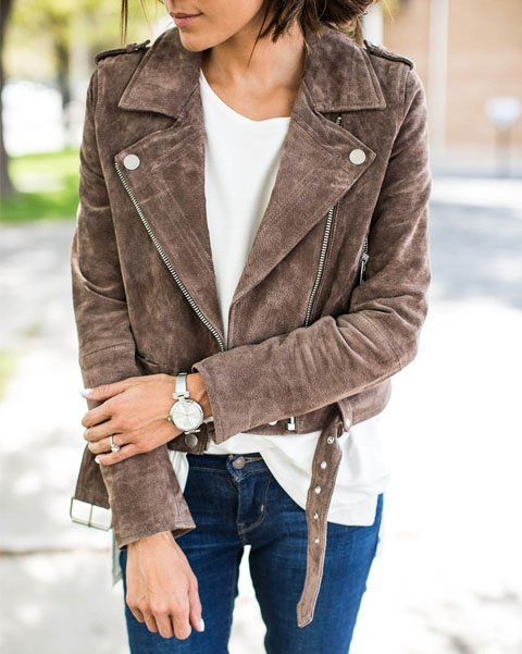 A suede moto jacket with a white tee and skinny jeans.