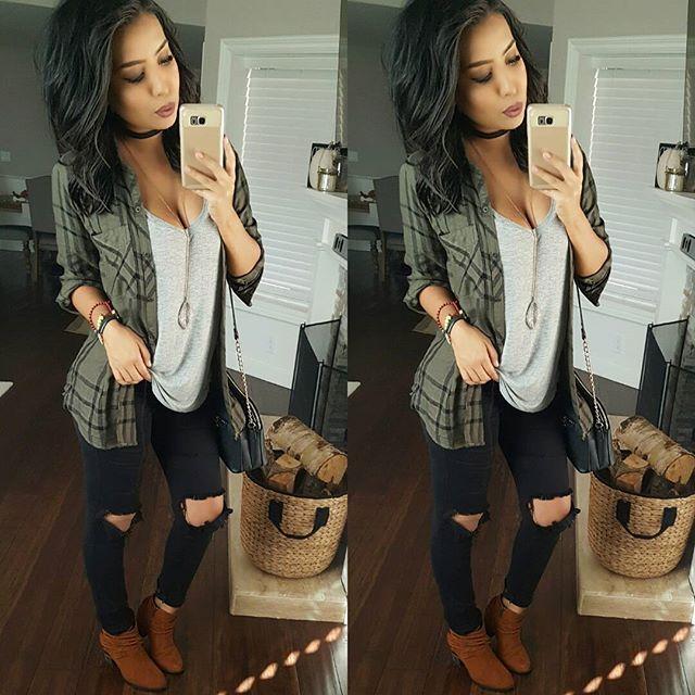 Bootie life  #casualstyle Flannel @shoppriceless Tee @kjcouture Jeans @fashionnova code xomonicas Booties @vlancoboutique
