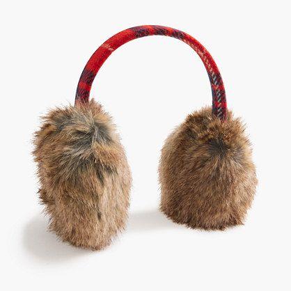 Red Plaid Faux-Fur Earmuffs