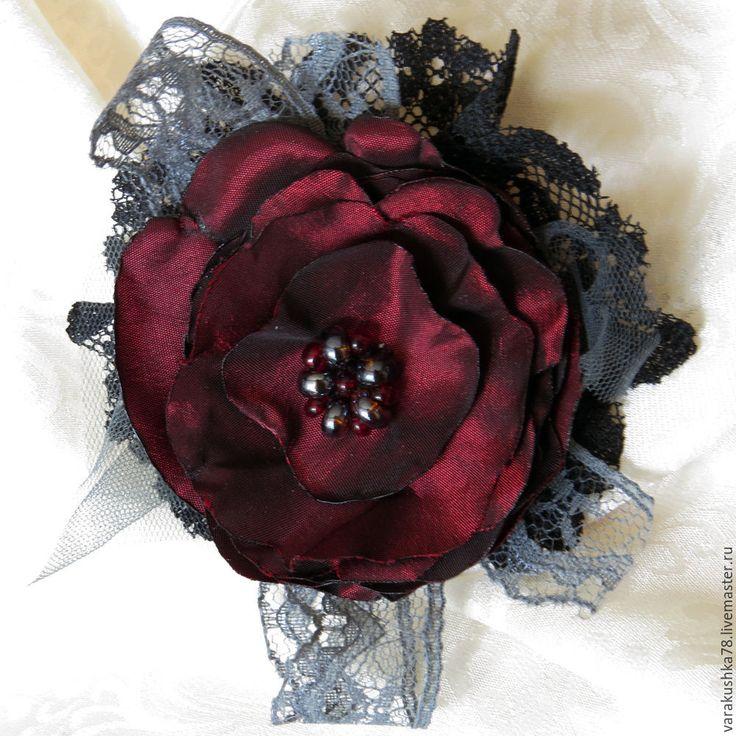 Купить Брошь Вечернее настроение - брошь в виде цветка, бордовый цвет, awool, итальянская ткань