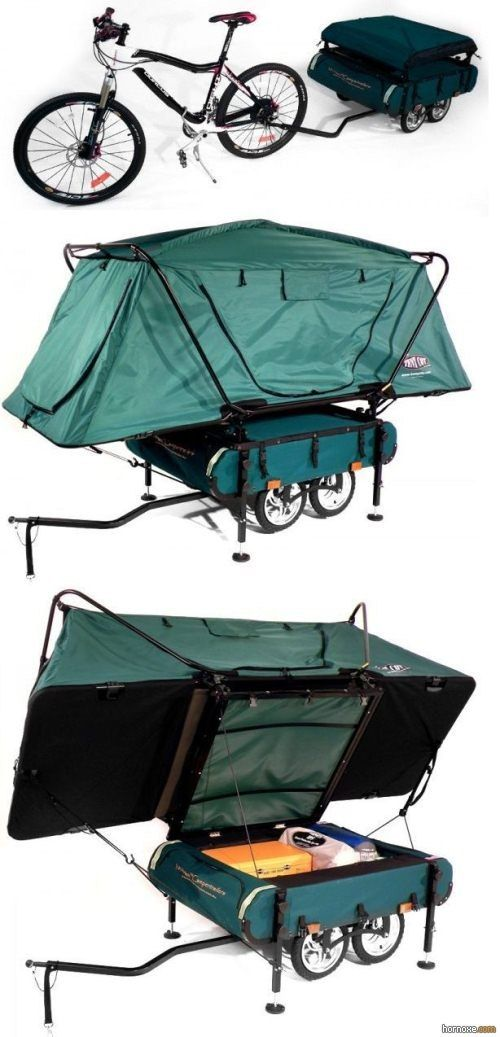 Mountain bike pop-up camper   I want this, would good for that cross country ride that I dream about doing.