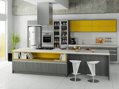 Construindo e arquitetando engenhosamente um sonho, com cimento de amor!: Cozinha branca, preta, cinza e amarela