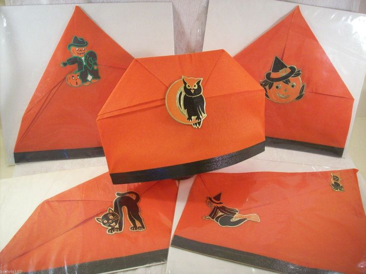 Halloween party decorations - Vintage Halloween Paper Party Hats W Cool Foil Decorations 1 Ebay