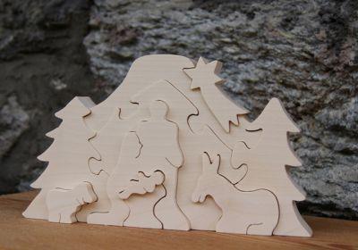 Creche puzzle en bois brut à peindre, création artisanale Les-creatifs.com