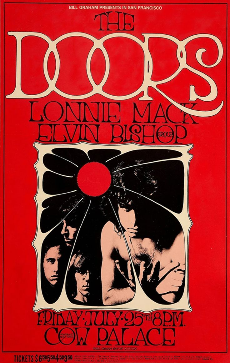 Posters for bedroom doors - The Doors Lonnie Mack Elvin Bishop At The Cow Palace Vintage Psychedelic