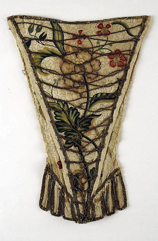 Stomacher  Date: first quarter 18th century Culture: British Medium: linen, silk, whale bone