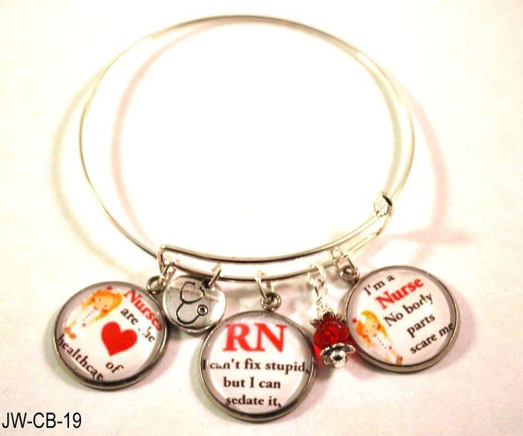RN Nurse Bangle Bracelet with Nurse Charms and Red Beads, Adjustable
