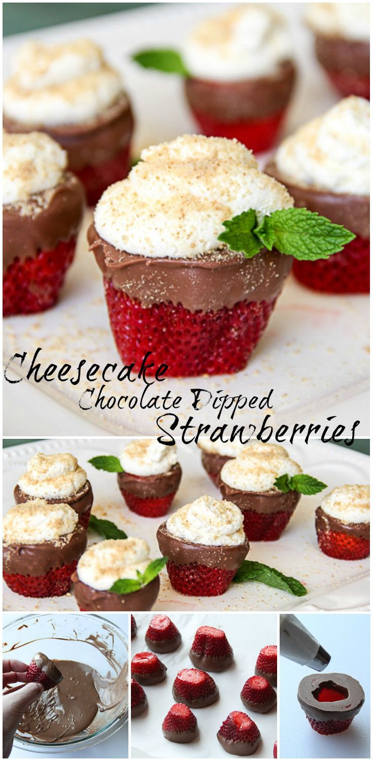 Strawberries dipped in chocolate with a Cheesecake filling