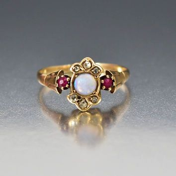 Antique 14K Gold Ruby Diamond Opal Engagement Ring