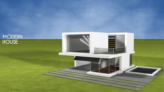 Cinema 4D - Modern house.