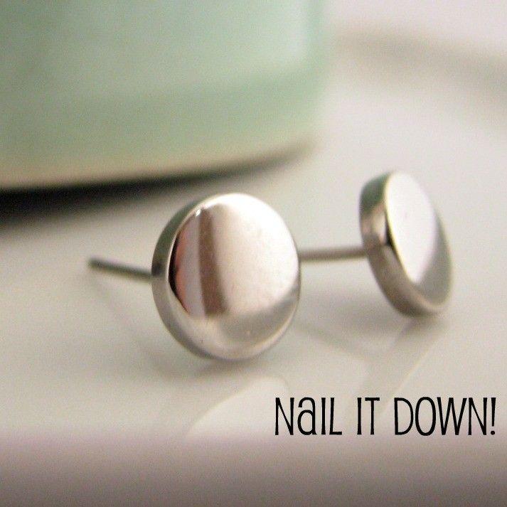 Mens Earrings Silver Stud - Earrings for Men - Stainless Steel ...Nail It Down... (no.420). $15.00, via Etsy.