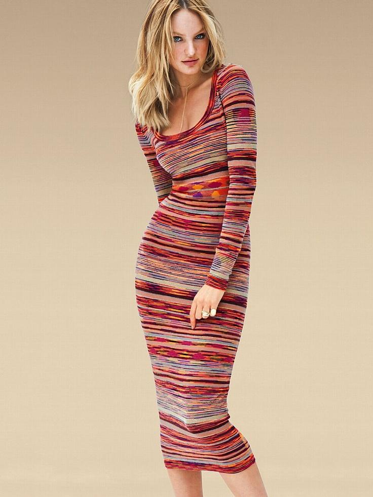 Vestido de lana largo rayado multicolor