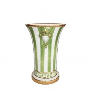 Vaso grande in ceramica a righe verdi e profili oro Este Ceramiche