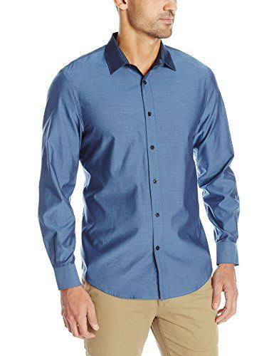 Perry Ellis Irridescent Solid Twill Long Shirts for Men