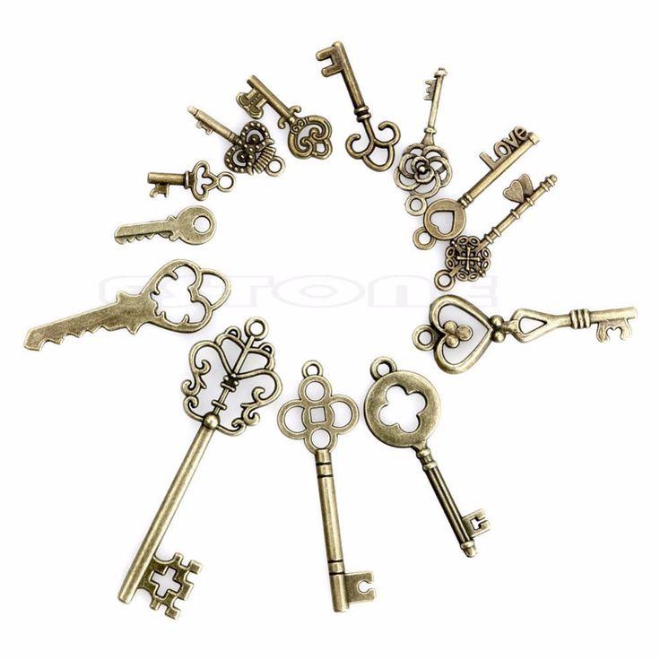 13 Antique Vintage Old Look Skeleton Keys Lot Bronze Tone Pendants Jewelry Mix Set