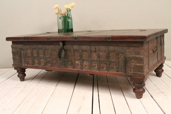 Reclaimed Trunk Coffee Table Antique Indian Brown Wood Iron and Brass Storage Wedding Chest on Etsy, $699.00