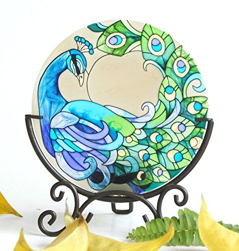 Hand Painted Art Glass Tea Light Candle Holder Table Topper Candleware Holiday Decor (Green Peacock) EliteShine http://www.amazon.com/dp/B00RBDPA5Y/ref=cm_sw_r_pi_dp_N6zPub1YQHPXN