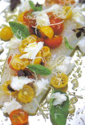 *Jamie Oliver's kabeljauw met kerstomaatjes en mozarella