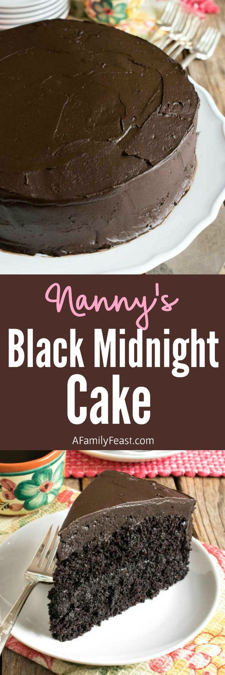 Nanny's Black Midnight Cake - A delicious black midnight chocolate cake - an old family recipe that has been passed down through generations!