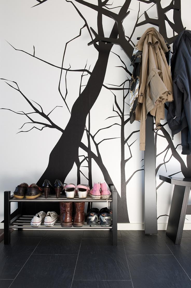 Para angulo perchero en vestibulo entrada Wallpaper con silueta de arboles negros+ perch