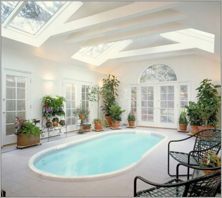 swimming pool small white indoor pool with succulent planter decoration on cream floor plus white wall
