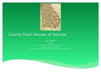 This power point consists of original pictures I have taken of county court houses in Georgia.  No copies of photos in wikipedia here.  This product is focused on Eastern Georgia and can be used to supplement Georgia history, the court system in Civics or government classes, or even as the basis for a research project.