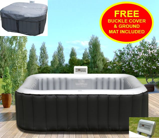 Heated Hot Tub Jacuzzi Spa Outdoor Garden Inflatable Pool Square 4