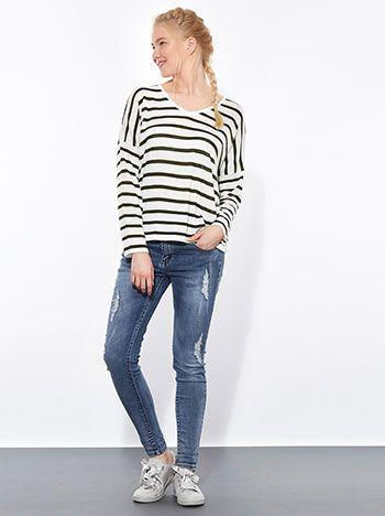 Celestino - Ριγέ μπλούζα με μετάξι και βαμβάκι