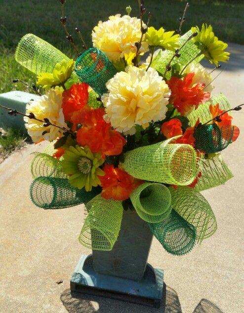 Colorful Vase Cemetery Arrangement Cemetery Arrangements
