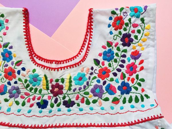 Summer Outfits - White Handmade Dress with Colourful Embroidery - available at azucarmaria.com