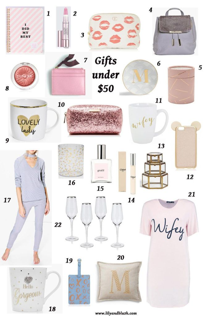 Christmas Gifts for Her under $50 Holiday Gift Guide Glam Gift Wifey Girly Pink Gifts Present Guide
