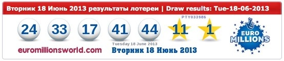 Euromillions Results 18-06-2013 | Next Jackpot is an est. €166M |