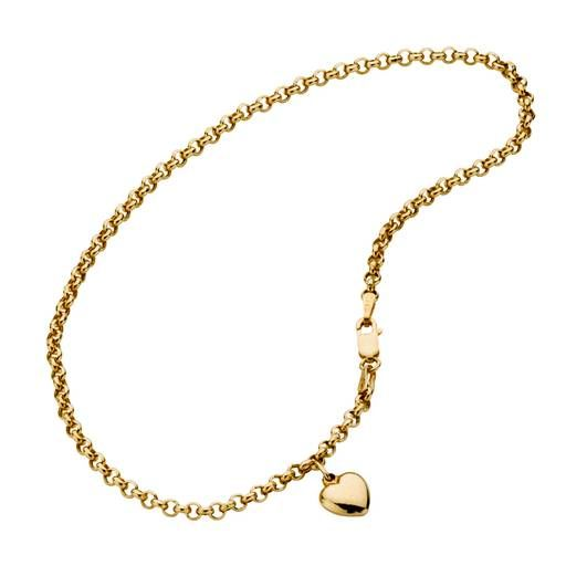 9ct Yellow Gold Belcher Anklet with Heart 26cm