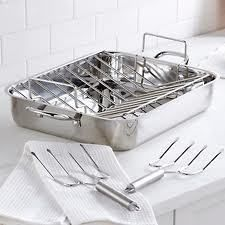 "NEW Wolfgang Puck 16.5"" Stainless Steel Roasting Pan and Rack - $79.95"