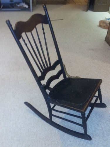 Deco S Antique Spindel Wood Rocking Chair Sewing Rocker Lowsitting No Arms Ebay