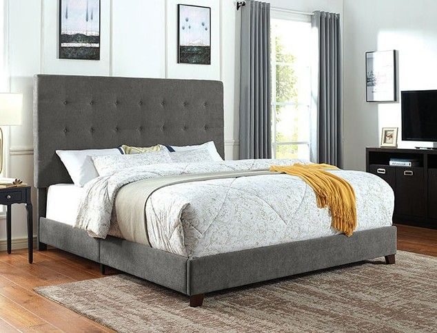 Cm7915 Rosdorf Park Carroll Gray Padded And Tufted Fabric Queen