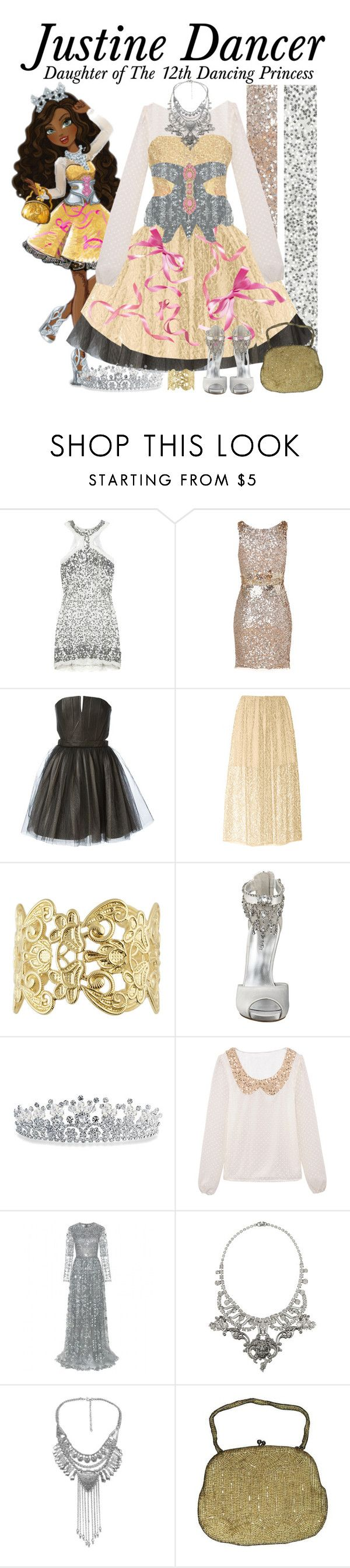 """""""Justine Dancer, Ever After High"""" by supercalifragilistica ❤ liked on Polyvore featuring Rachel Gilbert, Jenny Packham, Alice + Olivia, ADAM, Nine West, Bling Jewelry, Marc Jacobs, Valentino, Tom Binns and Ciner"""