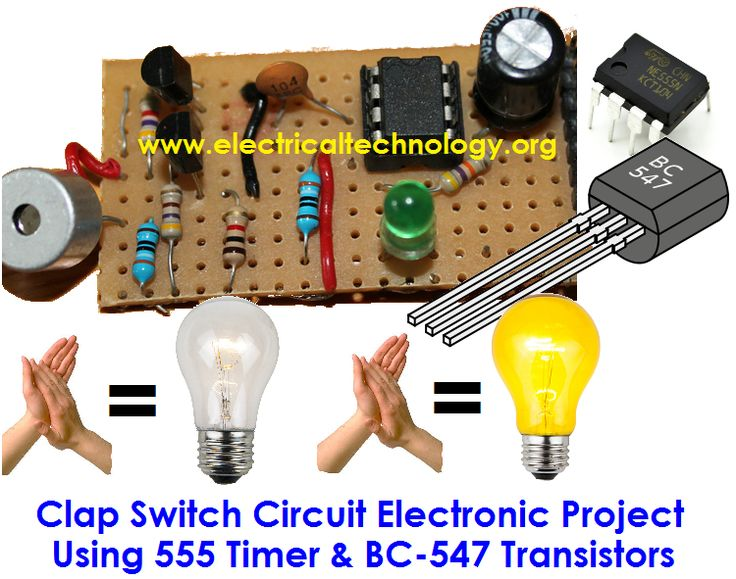Clap Switch is a basic Electronics mini-project, made from the basic components such as 555 Timer, BC-547 Transistors LED Resistors, Capacitors. clap sound