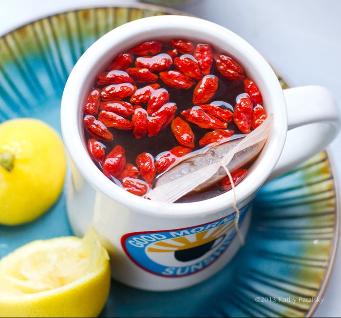 Cleansing Lemon Goji Berry Tea- it hydrates you, gives you a splash of energy and a clean feeling from the inside out to start your day.