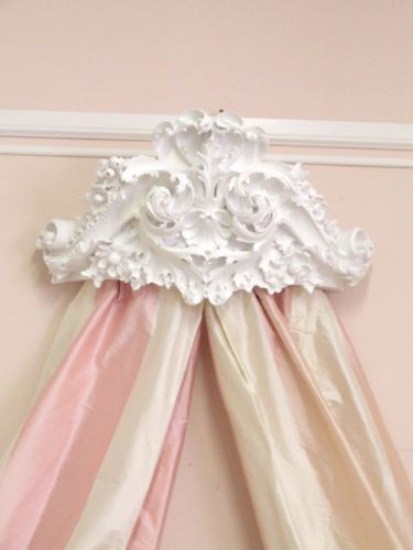 WOW Shabby Cottage Chic White Bed Crown Wall Cornice | eBay