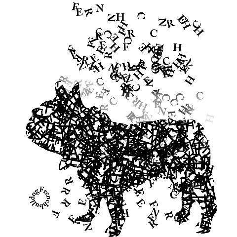 French Bulldog illustration, japan, タイポフレンチブルドッグ: タイポグラフで出来たシルエットがフレンチブルドッグになった。アートなtシャツです。文字が上から降って来て一つの固まりに…バットマンがコウモリが集まって出来る様なイメージでデザインしてみました。fooldesignのClubT店では人気のオリジナルデザインTシャツ。タイポグラフィーとシルエットデザインが融合したユーモア溢れるフレブルのシルエットがアートな雰囲気を出しています。カラーもシンプルだけど、メンズ/レディース共に人気のデザイン。