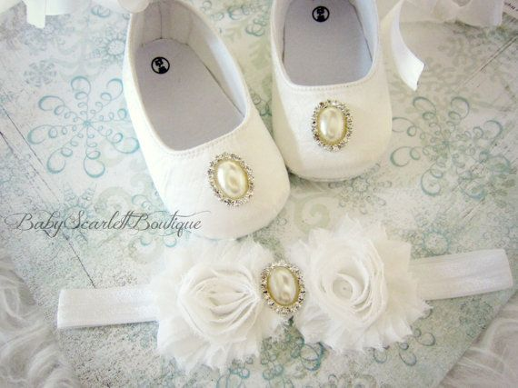 White Satin Baby Girl Soft Sole by babyScarlettBoutique on Etsy, $22.99