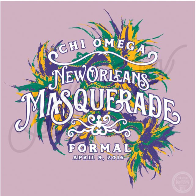 Chi Omega | Chi O | New Orleans Masquerade | Formal Design | Mardi Gras Theme | South by Sea | Greek Tee Shirts | Greek Tank Tops | Custom Apparel Design | Custom Greek Apparel | Sorority Tee Shirts | Sorority Tanks | Sorority Shirt Designs