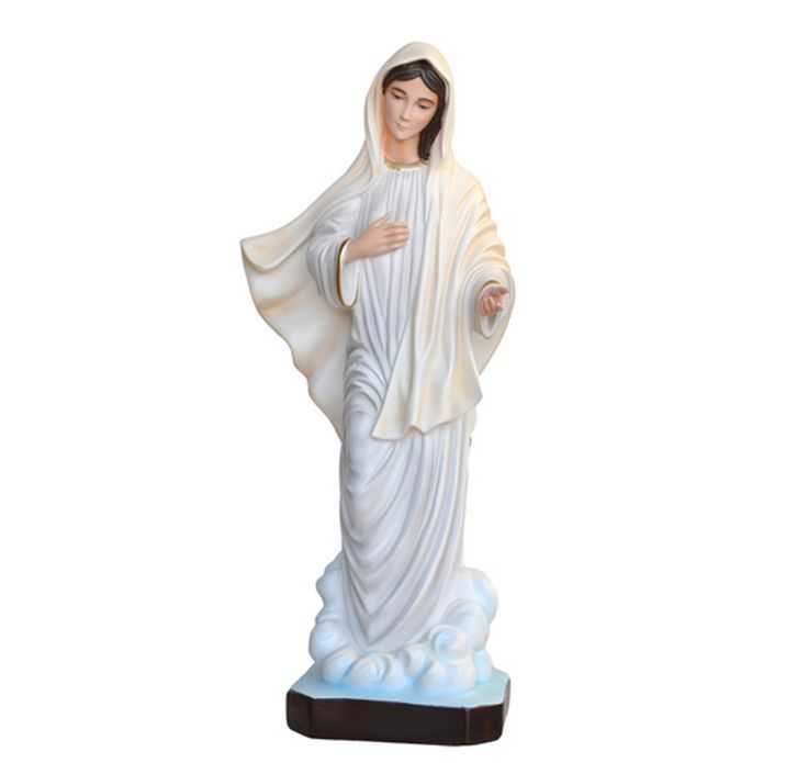 Our Lady of Medjugorje statue, height 80 cm. in empty resin, hand painted with acrylic colors and trim with oil colors, available with glass eyes. Made in Italy