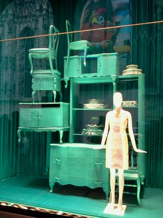 Painted furniture and mannequin makes a great front window display  Green  Show window Milan. 110 best Ideas Reference images on Pinterest   Retail displays