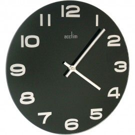Mika Black Glass Wall Clock 30cm - ON SALE NOW!!