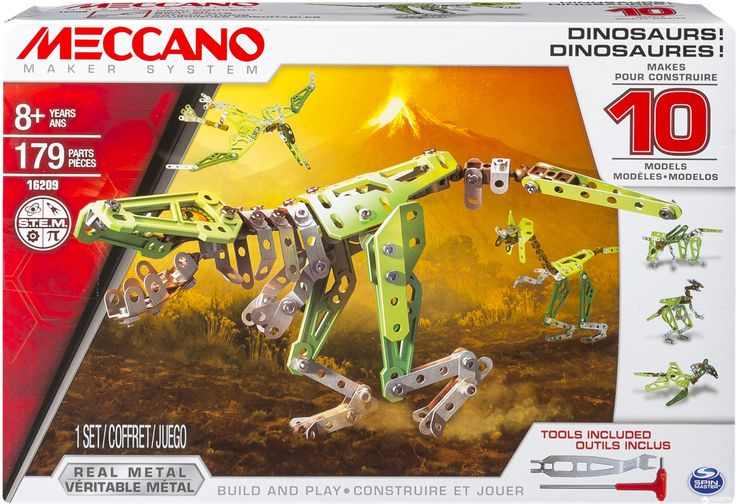 Who doesn't love mecanno? GREAT CHRISTMAS GIFT   MECCANO 10 Model Set Dinosaurs 16209 Building one model at a time you can create a T-Rex, Triceratops, Raptor, Pterodactyl and more. This set features parts to build a new articulating spine joint and lenticular eyes. This 10-model set includes 179 Parts and easy to follow, step-by-step instructions. Your imagination just got real with Meccano! Enter the world of the dinosaur with the new 10 Model #toys2learn #meccano #construction…