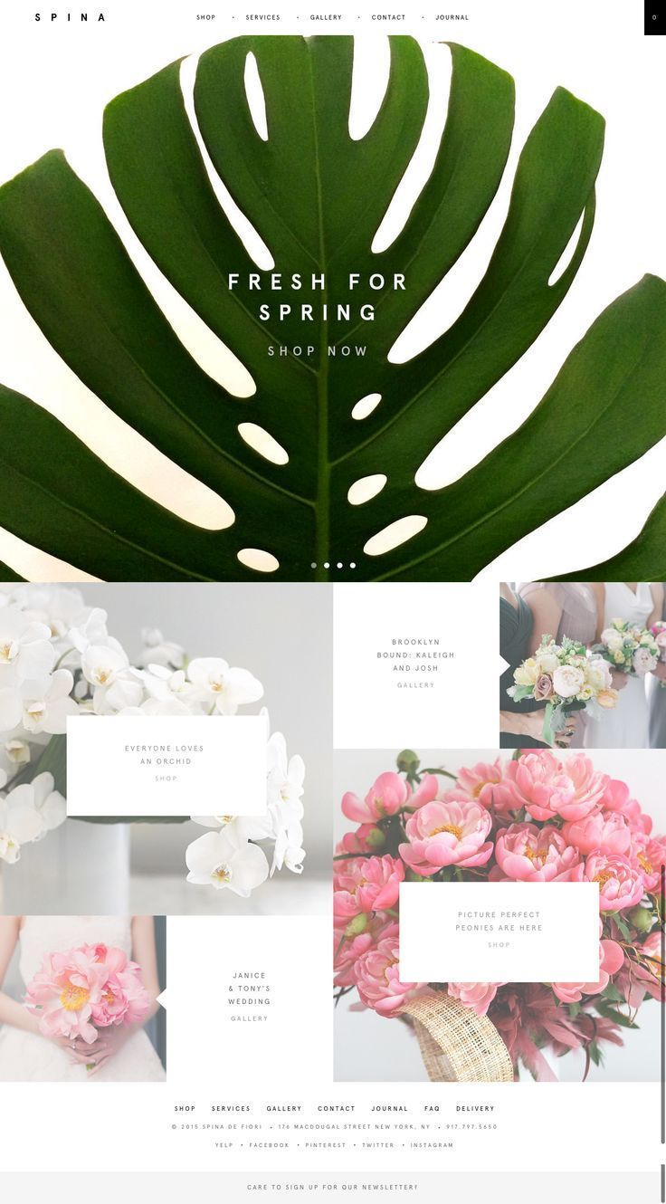 stylish florist website. beautiful layout design