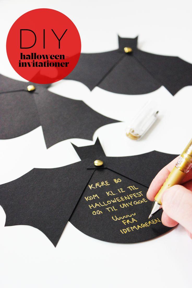 """Lav hjemmelavede Halloween invitationer, og inviter alle små monstre til fest. Print skabelonen (nederst i indlægget) og tegn den over på sort pap, sæt papskiverne sammen med en paperbinder, og så har du den flotteste flagermus halloween invitation! Rigtig god fornøjelse fra Idémageren Læs mere om bogen, samt et lille uddrag ved at klikke """"her"""".Med …"""