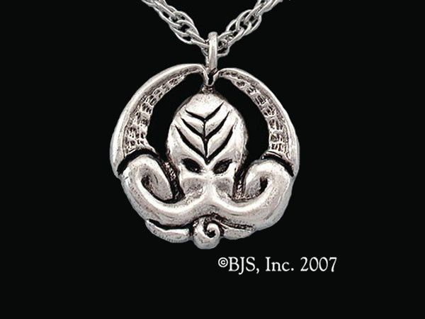 """Cthulhu Medallion: A hand carved pendant featuring Cthulhu's face and tentacles.  The back of the medallion is engraved with the Cthulhu chant, """"Ph'nglui mglw'nafh Cthulhu R'lyeh wgah'nagl fhtagn"""" - In his house at R'lyeh dead Cthulhu waits dreaming.  The Cthulhu medallion is available in sterling silver, bronze, 14k gold, and 14k white gold."""